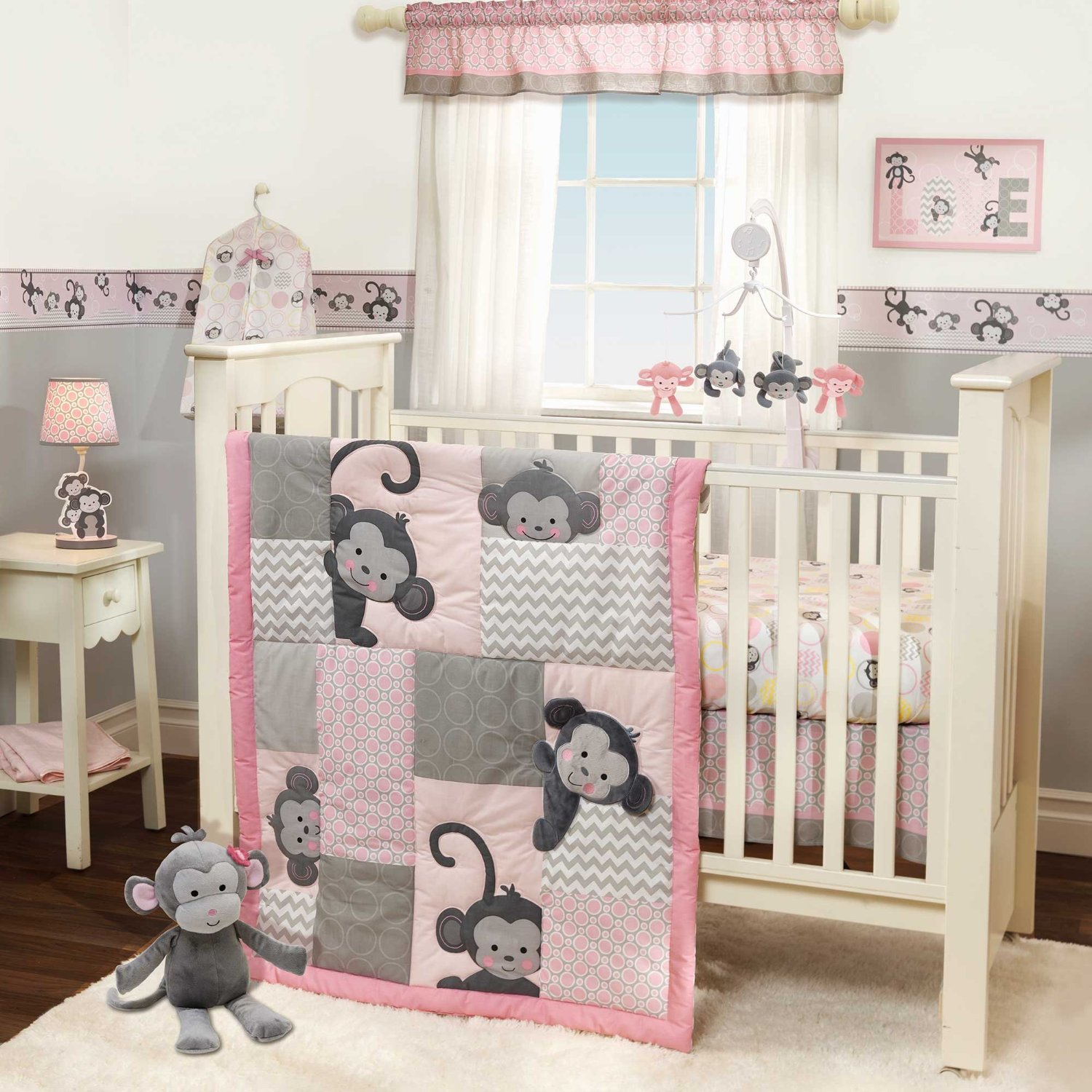 Girls monkey crib bedding Baby girl bedding
